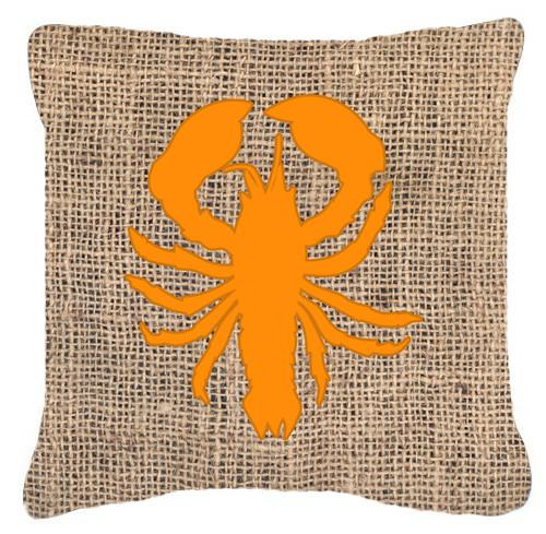 Lobster Burlap and Orange   Canvas Fabric Decorative Pillow BB1015 by Caroline's Treasures