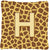 Buy this Monogram Initial H Giraffe Decorative   Canvas Fabric Pillow CJ1025