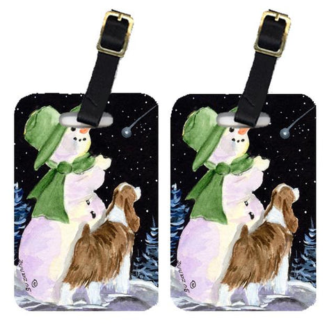 Buy this Snowman with English Springer Spaniel Luggage Tags Pair of 2