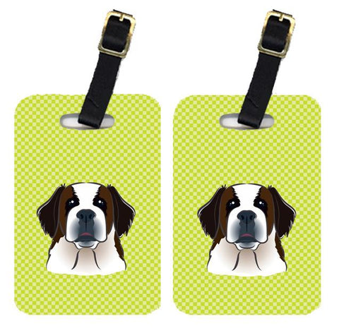 Buy this Pair of Checkerboard Lime Green Saint Bernard Luggage Tags BB1308BT