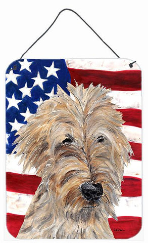 Buy this Goldendoodle USA American Flag Aluminium Metal Wall or Door Hanging Prints