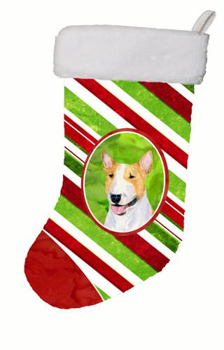 Bull Terrier Winter Snowflakes Christmas Stocking SS4565 by Caroline's Treasures