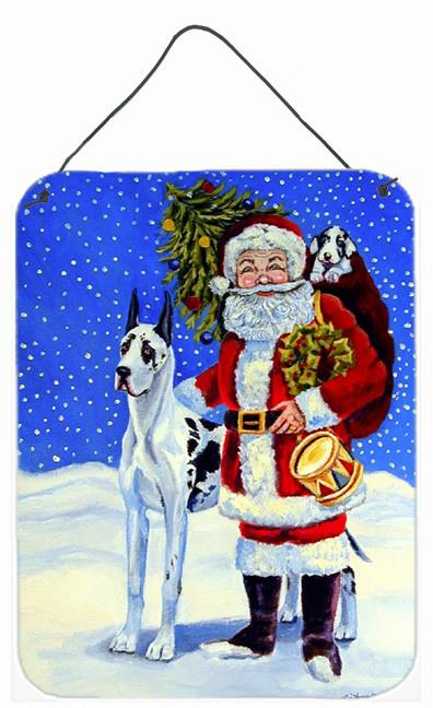Harlequin Great Dane with Santa Claus Metal Wall or Door Hanging Prints by Caroline's Treasures