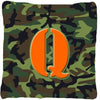 Monogram Initial Q Camo Green Decorative   Canvas Fabric Pillow CJ1030 - the-store.com