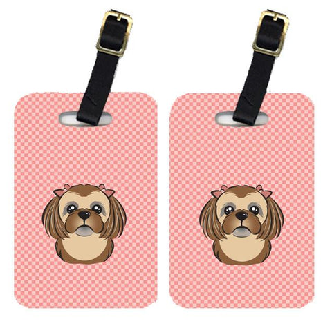 Buy this Pair of Checkerboard Pink Chocolate Brown Shih Tzu Luggage Tags BB1249BT