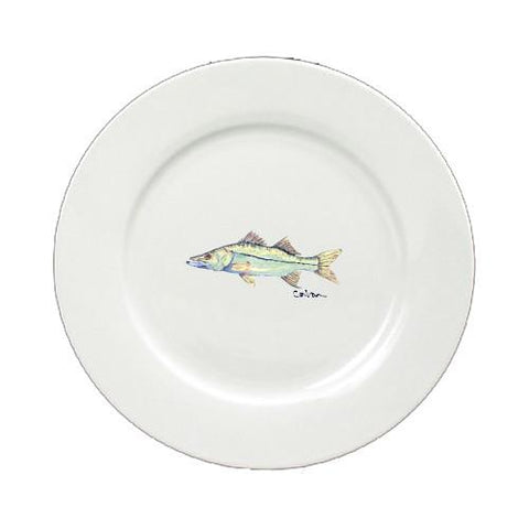 Buy this Fish Snook Ceramic - Plate Round 11 inch solid white 8672-DPW