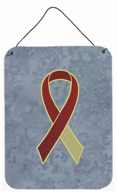 Buy this Burgundy and Ivory Ribbon for Head and Neck Cancer Awareness Wall or Door Hanging Prints AN1218DS1216