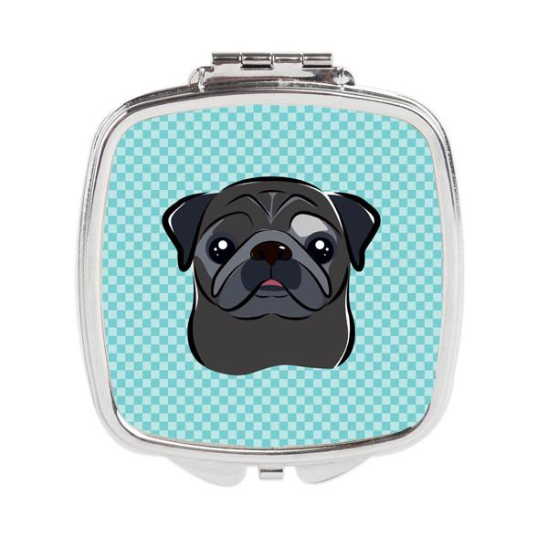 Buy this Checkerboard Blue Black Pug Compact Mirror BB1201SCM