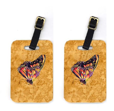 Buy this Pair of Butterfly on Gold Luggage Tags