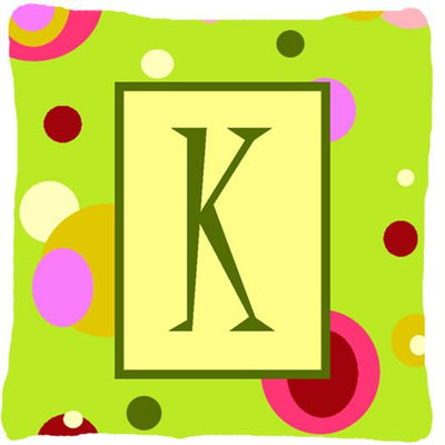 Buy this Letter K Initial Monogram - Green Decorative   Canvas Fabric Pillow