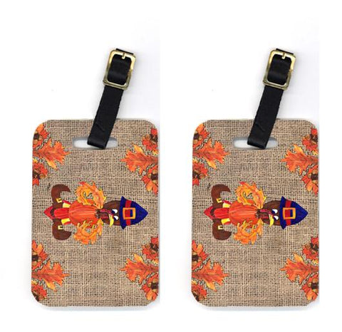 Buy this Pair of Thanksgiving Turkey Pilgrim Fleur de lis Luggage Tags