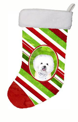 Buy this Bichon Frise Candy Cane Holiday Christmas  Christmas Stocking SC9322