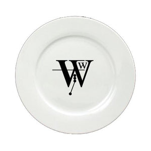 Buy this Letter W Initial Monogram Modern Round Ceramic White Salad Plate CJ1056-W-DPW