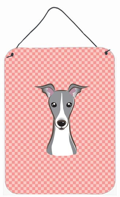 Checkerboard Pink Italian Greyhound Wall or Door Hanging Prints BB1236DS1216 by Caroline's Treasures