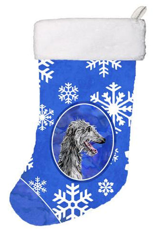 Buy this Scottish Deerhound Winter Snowflakes Christmas Stocking SC9789-CS