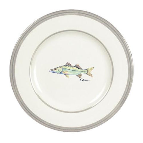 Buy this Fish Snook Ceramic - Plate Round Platinum Rim 11 inch 8672-DPPR