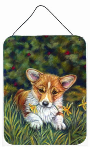 Buy this Corgi Pup and Daffodils Wall or Door Hanging Prints 7300DS1216