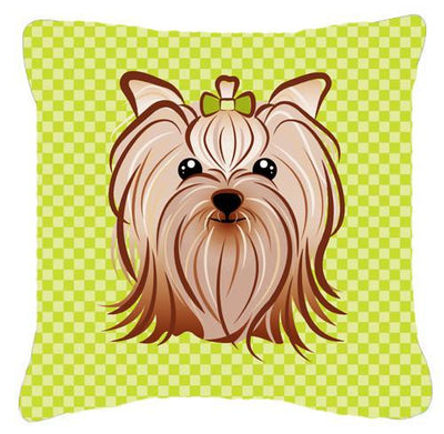 Checkerboard Lime Green Yorkie Yorkshire Terrier Canvas Fabric Decorative Pillow BB1266PW1414 - the-store.com