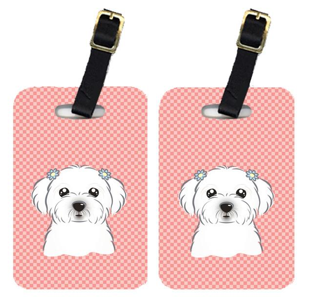 Pair of Checkerboard Pink Maltese Luggage Tags BB1208BT by Caroline's Treasures
