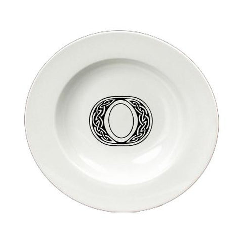 Buy this Letter O Initial Monogram Celtic Round Ceramic White Soup Bowl CJ1059-O-SBW-825