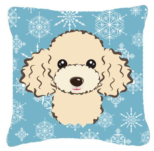Buy this Snowflake Buff Poodle Fabric Decorative Pillow BB1692PW1414