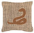 Buy this Snake Burlap and Brown   Canvas Fabric Decorative Pillow BB1124