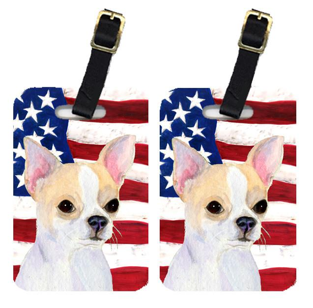 Buy this Pair of USA American Flag with Chihuahua Luggage Tags SS4230BT
