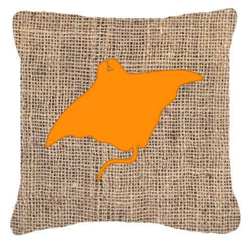 Buy this Manta ray Burlap and Orange   Canvas Fabric Decorative Pillow BB1014