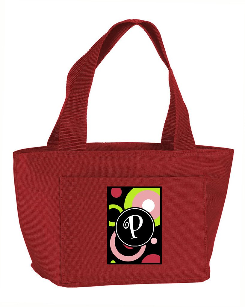 Letter P Monogram - Retro in Black Zippered Insulated School Washable and Stylish Lunch Bag Cooler AM1002-P-RD-8808 by Caroline's Treasures
