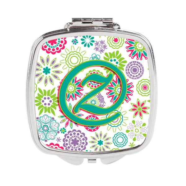 Buy this Letter Z Flowers Pink Teal Green Initial Compact Mirror CJ2011-ZSCM