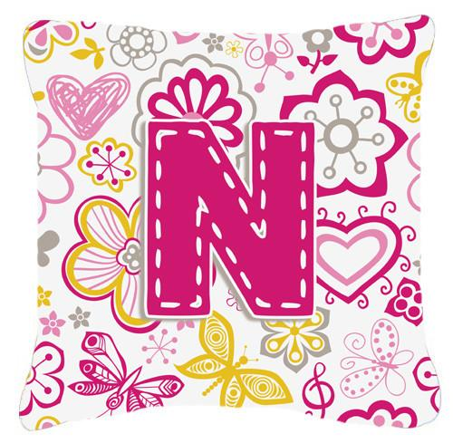 Letter N Flowers and Butterflies Pink Canvas Fabric Decorative Pillow CJ2005-NPW1414 by Caroline's Treasures