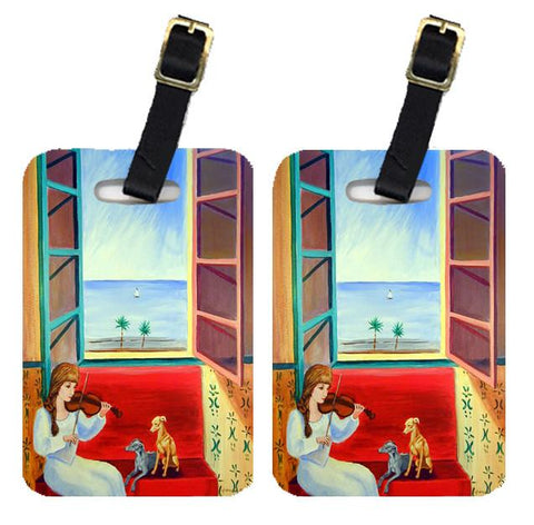 Buy this Pair of 2 Italian Greyhounds with Mom and Violin Luggage Tags