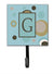 Letter G Initial Monogram - Blue Dots Leash Holder or Key Hook by Caroline's Treasures