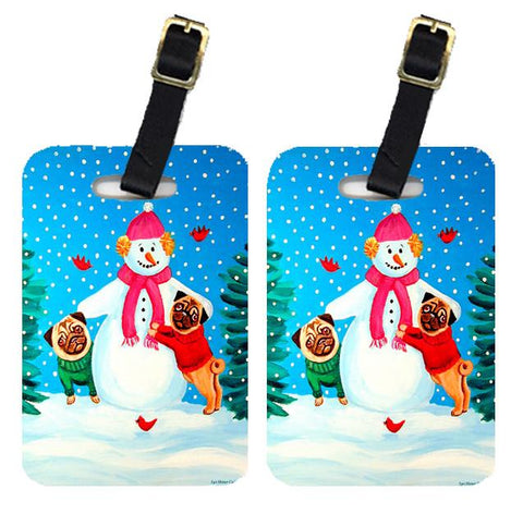 Buy this Snowman with Pug Luggage Tags Pair of 2