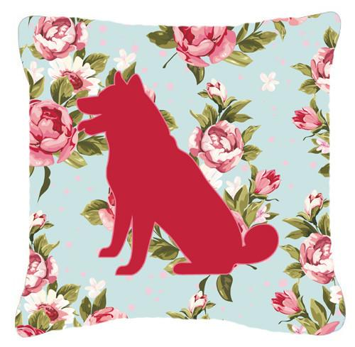 Shiba Inu Shabby Chic Blue Roses   Canvas Fabric Decorative Pillow BB1113 - the-store.com