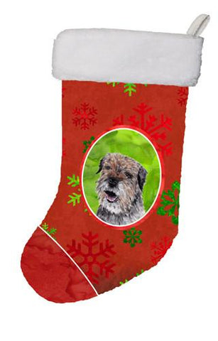 Buy this Border Terrier Red Snowflakes Holiday Christmas Stocking SC9585-CS