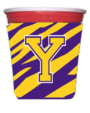 Buy this Tiger Stripe - Purple Gold Letter Y Monogram Initial Red Solo Cup Beverage Insulator Hugger