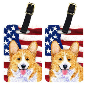 Buy this Pair of USA American Flag with Corgi Luggage Tags SS4048BT
