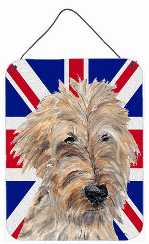Buy this Golden Doodle with English Union Jack British Flag Wall or Door Hanging Prints SC9859DS1216