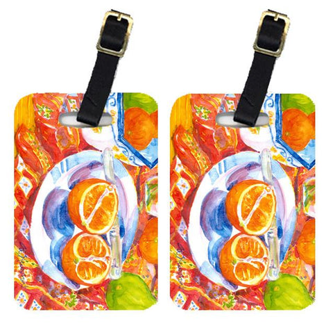 Buy this Pair of 2 Florida Oranges Sliced for breakfast  Luggage Tags