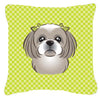 Checkerboard Lime Green Gray Silver Shih Tzu Canvas Fabric Decorative Pillow BB1312PW1414 - the-store.com
