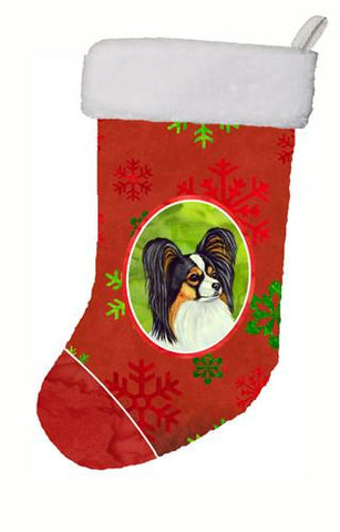 Buy this Papillon Red and Green Snowflakes Holiday Christmas Christmas Stocking LH9345