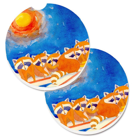 Buy this Raccoons on the railing Set of 2 Cup Holder Car Coasters 6009CARC
