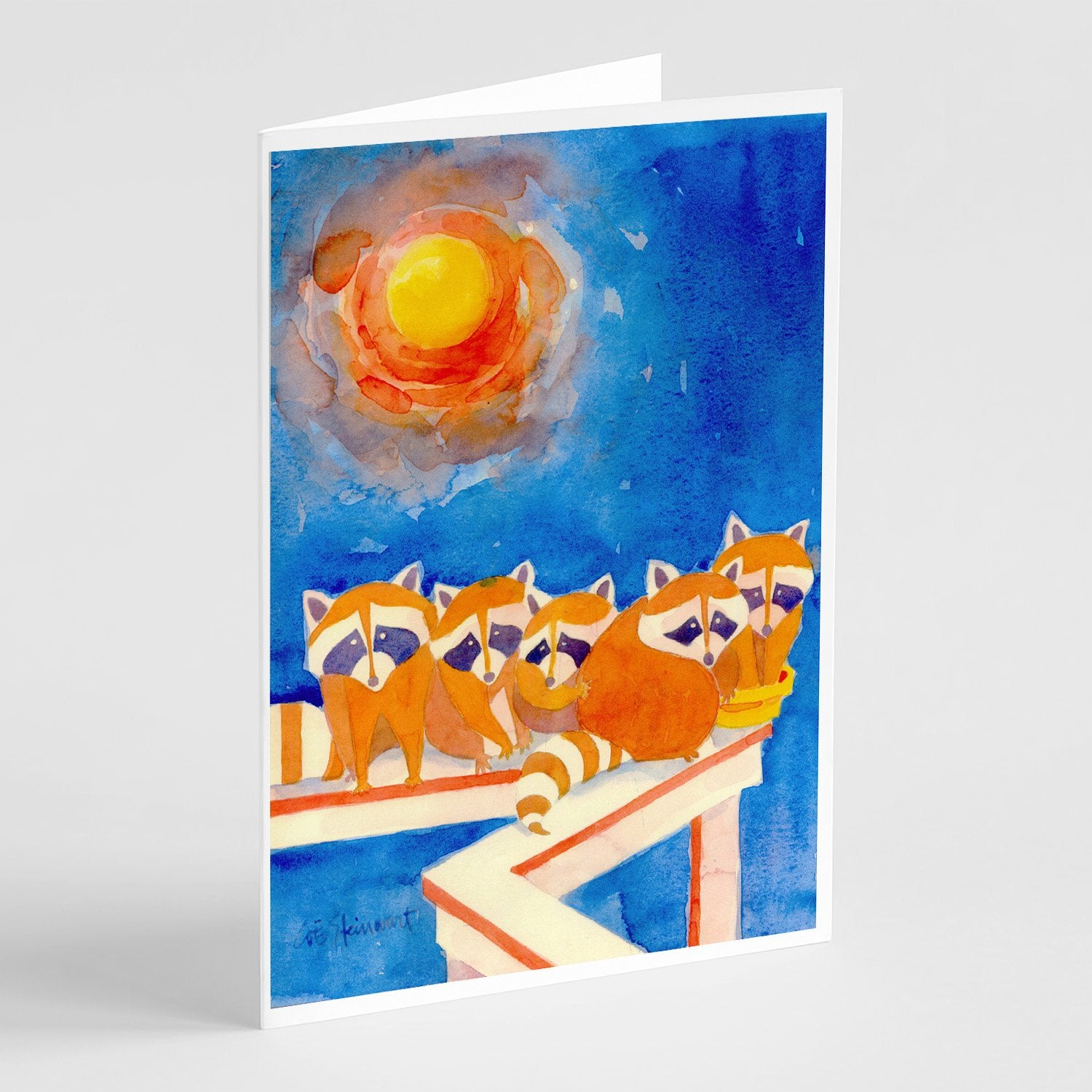 Buy this Raccoons on the railing Greeting Cards and Envelopes Pack of 8