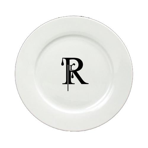 Buy this Letter R Initial Monogram Modern Round Ceramic White Salad Plate CJ1056-R-DPW