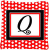 Letter Q Initial Monogram Red Black Polka Dots Decorative Canvas Fabric Pillow - the-store.com
