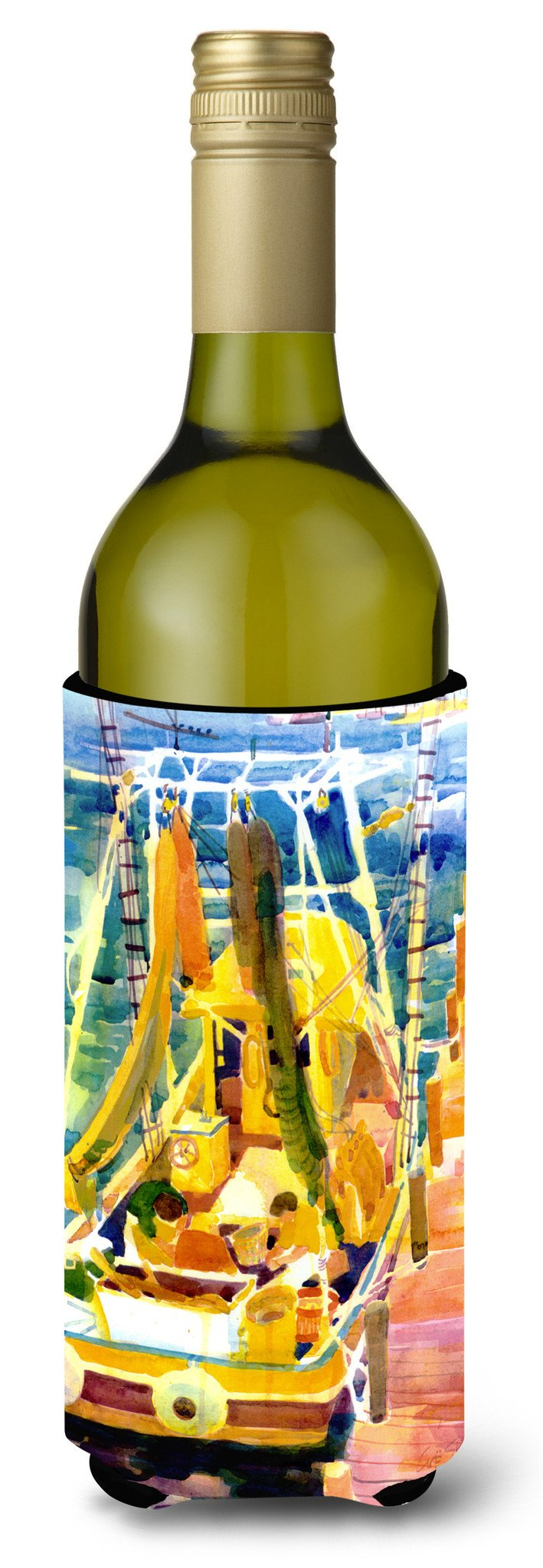 Shrimp Boats Wine Bottle Beverage Insulator Beverage Insulator Hugger by Caroline's Treasures