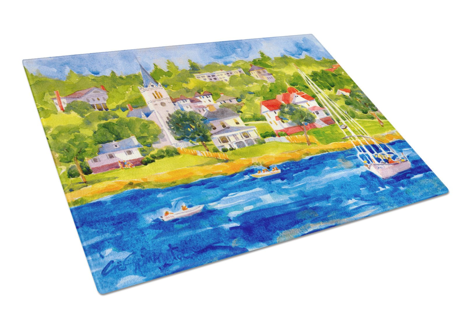Buy this Harbour Scene with Sailboat  Glass Cutting Board Large
