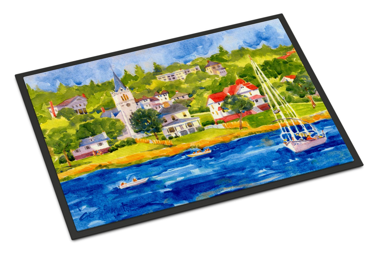 Harbour Scene with Sailboat  Indoor or Outdoor Mat 18x27 Doormat by Caroline's Treasures
