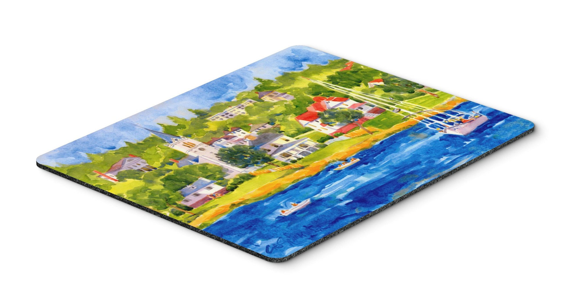 Harbour Scene with Sailboat  Mouse pad, hot pad, or trivet by Caroline's Treasures